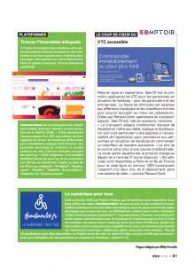 La page 61 du magazine être avec la présentation de Connect4Good de la Handitech, la présentation d'Handinewtek et notre innovation Take Of