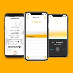 Image de l'application SpeekLiz sur des smartphones