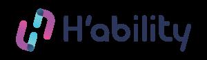 Le logo de H'ability, se prononçant hability, écrit en bleu foncé avec deux côtés