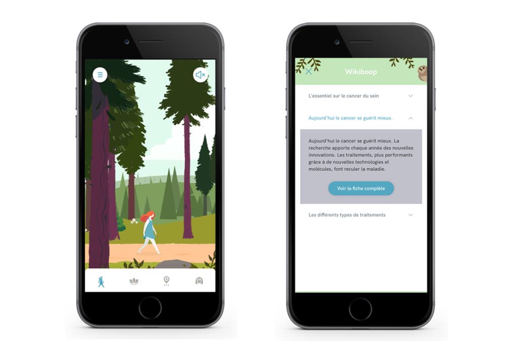 Diapo 4 : Image de l'application Wikiboop avec sur l'un des smartphones des informations sur le cancer du sein