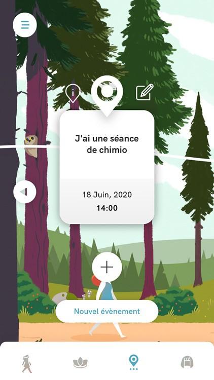 Diapo 5 : Image de l'application Wikiboop avec un rappel d'un rendez-vous de chimio