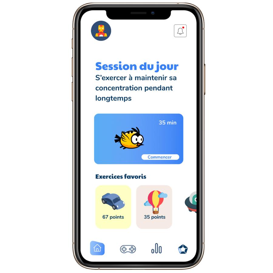 Diapo 2 : Un smartphone avec l'application Fokus et les mini jeux disponibles !