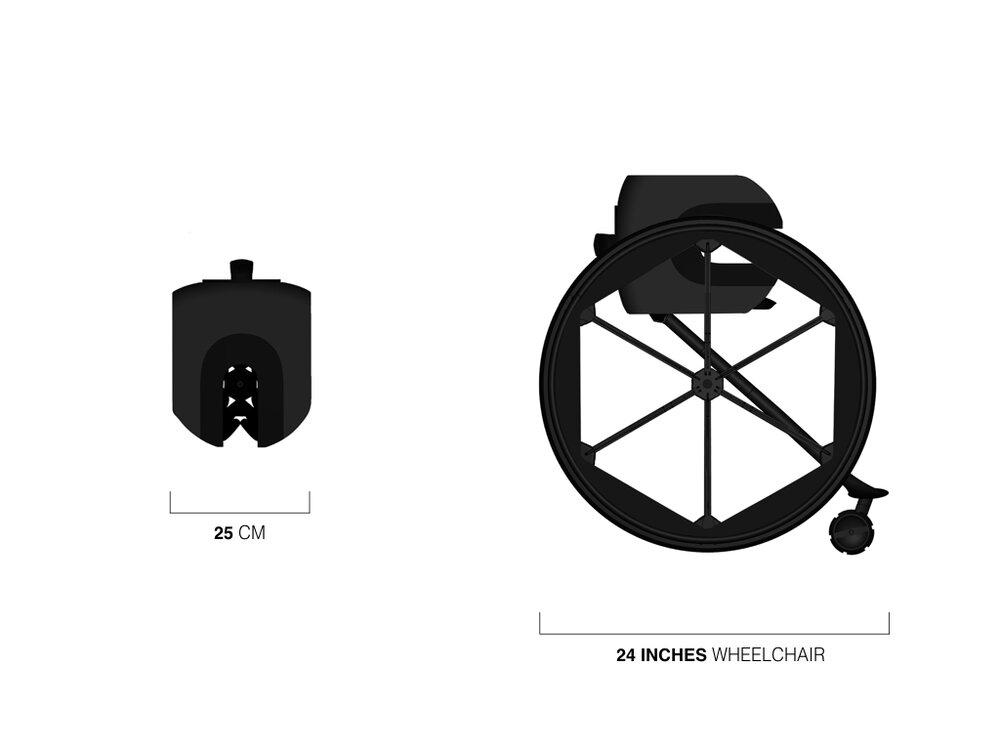 Diapo 4 : À gauche le fauteuil roulant plié mesurant 25cm, à droite le fauteuil roulant ouvert de 66,5 cm de diamètre