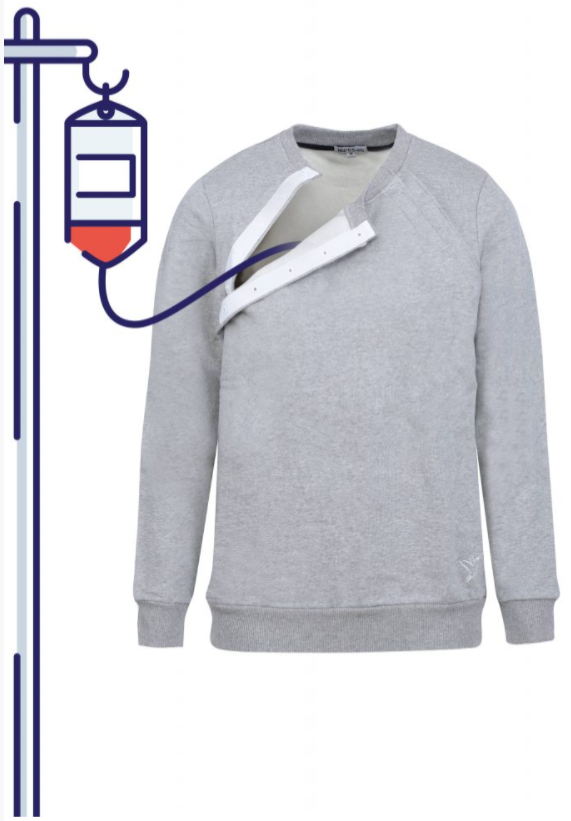 Diapo 2 : Image du pull de Hôp'tiSoins avec une poche à perfusion dans l'ouverture adaptée