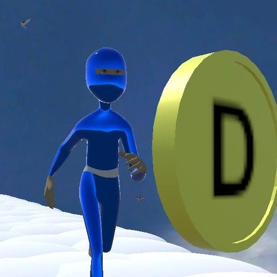 Diapo 3 : Image d'un personnage qui court pour récupérer une pièce avec la lettre D dessus