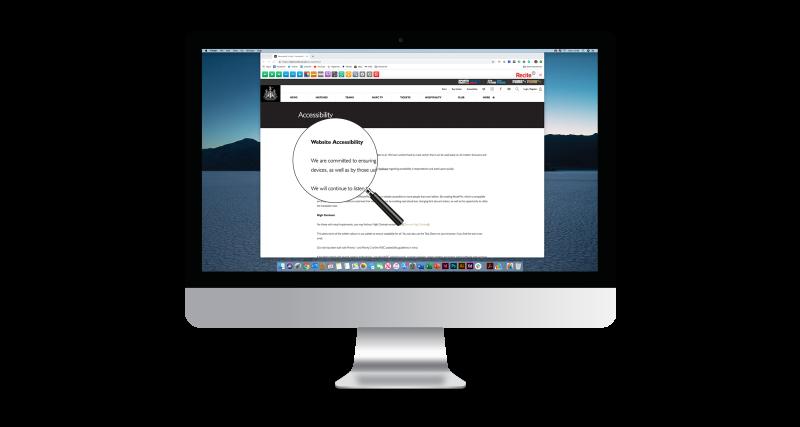 Diapo 4 : Image d'un écran d'ordinateur affichant un site web utilisant la fonction loupe de Recite Me