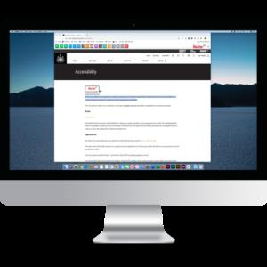 Image d'un écran d'ordinateur avec dessus un site utilisant la fonction accessibilité de Recite Me