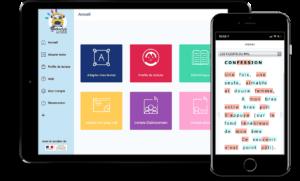 Interface de la plateforme Aidodys sur une tablette et un smartphone