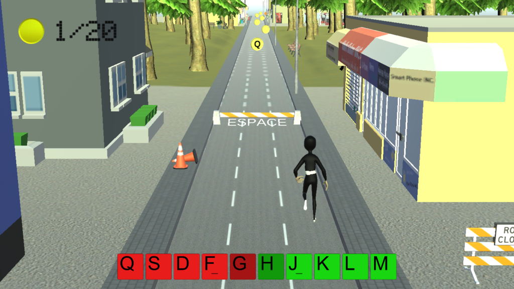 Diapo 6 : Image du niveau 1 du jeu Dactylo Run avec un personnage qui court avec devant lui un obstacle où il y a marqué 'espace' et des pièces avec des lettres