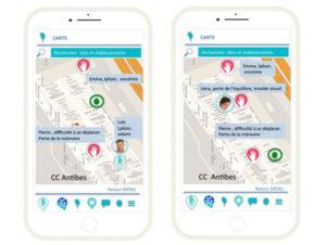 Image de l'application Lpliz sur deux smartphones, montrant des personnes ayant besoin d'aide et des personnes proposant leur aide