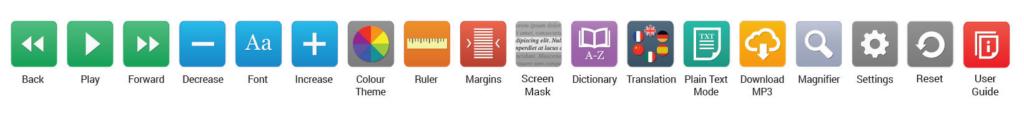 Diapo 3 : Image de la barre d'outils de Recite Me (couleurs, traductions, dictionnaire, pause, etc.)