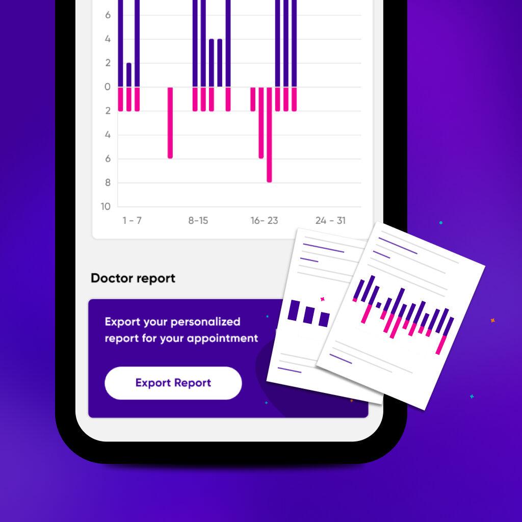 Diapo 3 : Image de l'application Epsy Health montrant les statistiques des crises du patient pour son médecin