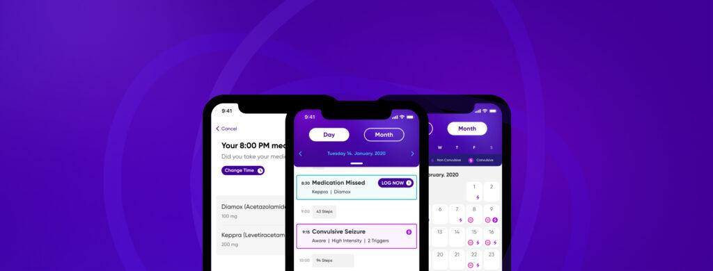 Diapo 2 : Image de l'application Epsy Health montrant la fonctionnalité de suivi des médicaments et crises