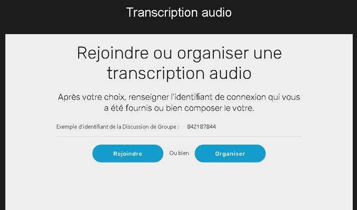 Diapo 4 : Image d'une réunion proposant de rejoindre ou d'organiser une transcription audio