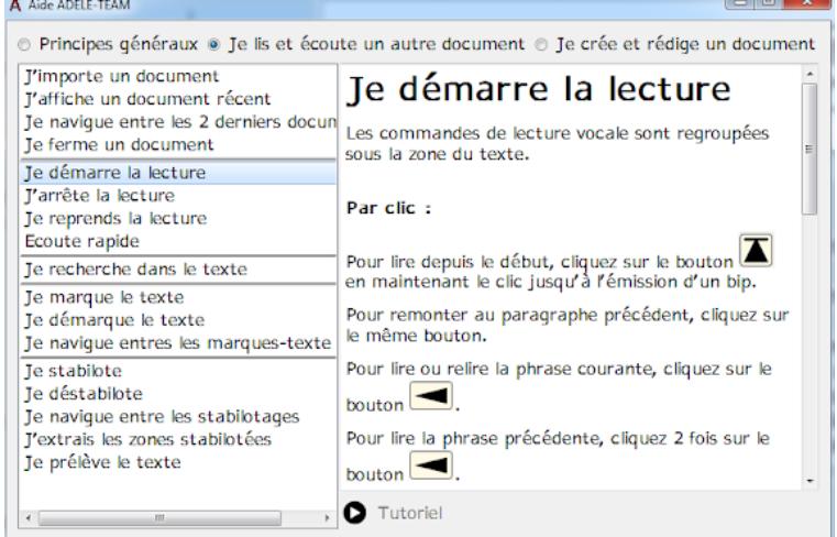 Diapo 3 : Image de la fonction de lecture d'une texte à voix haute du logiciel ADELE-TEAM